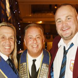 Iron Maidens Nico McBrain with King Rat Ian Richards and The Pub Landlord Al Murray