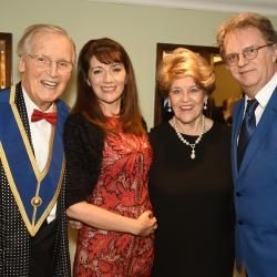Nicholas Parsons with Paul Merton and their lovely ladies